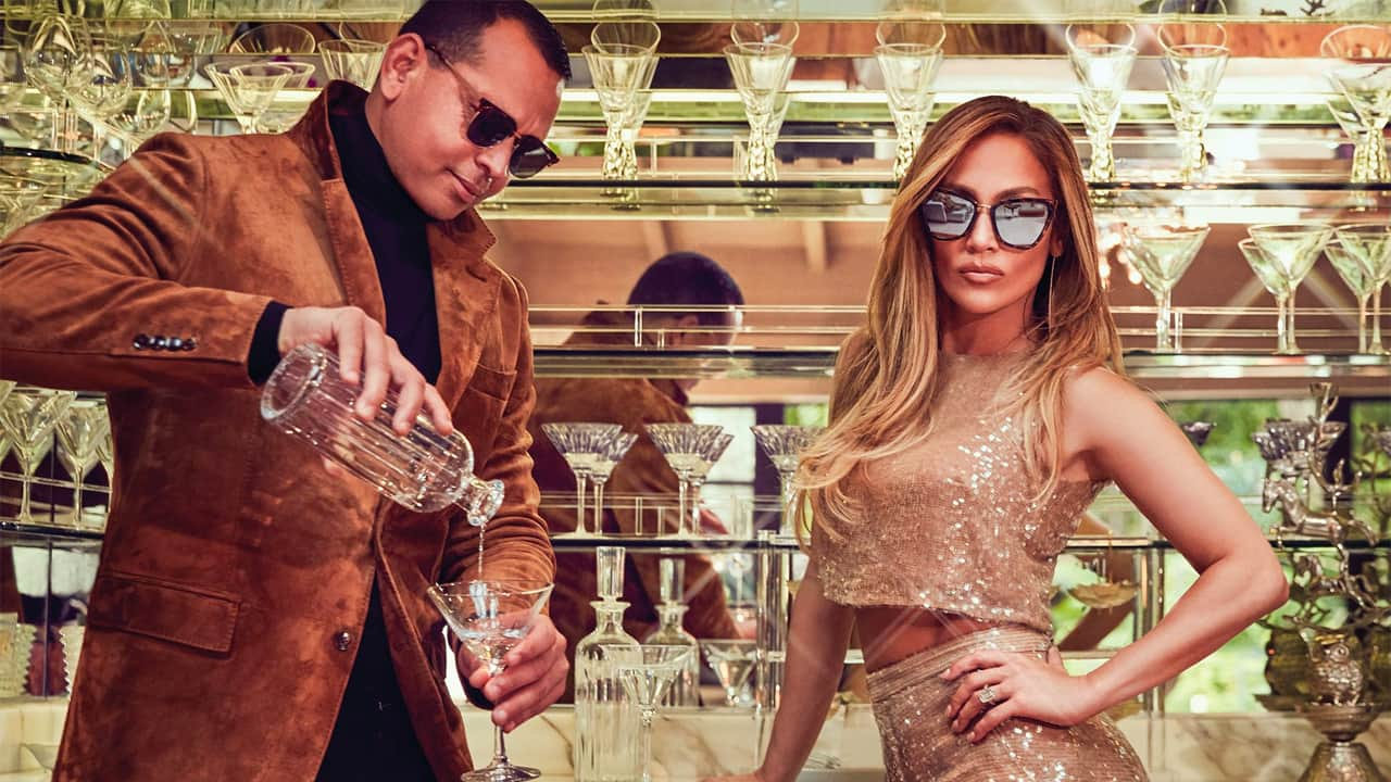 jennifer lopez and alex rodriguez model Quay sunglasses of their design