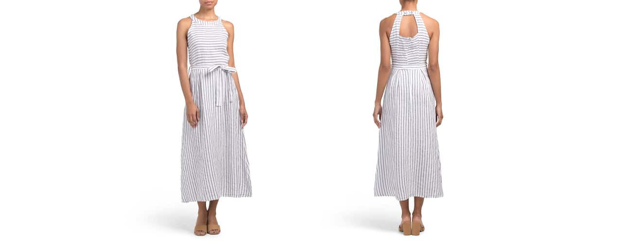 Lungo L'Arno Stripe Halter Linen Maxi Dress