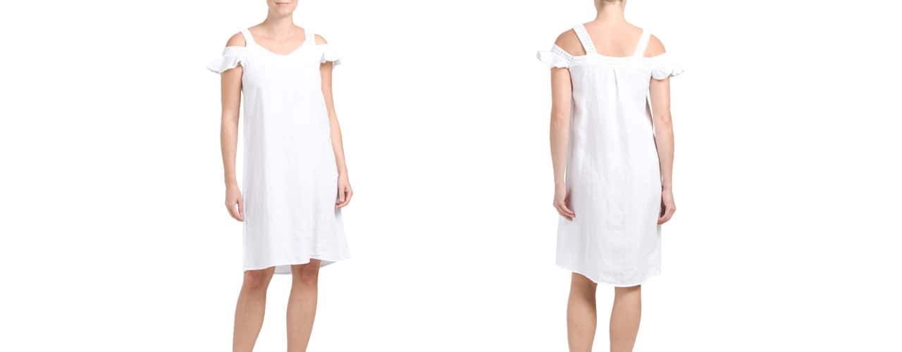 Stella Rosa Linen Ruffle Cold Shoulder Dress