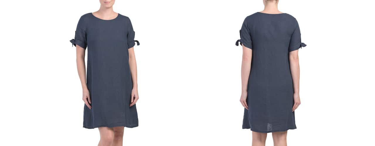 Terzo Millennio Linen Tie Sleeve Shift Dress