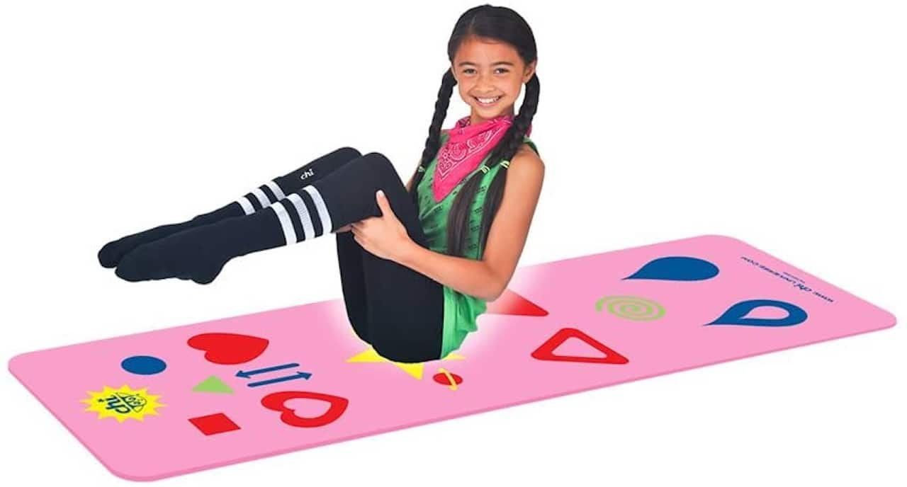 pink yoga mat and yoga game for kids