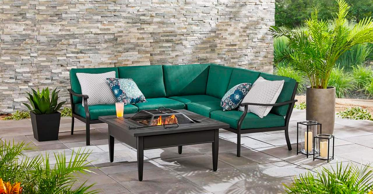 5 inbody Riley 3-Piece Black Steel Outdoor Patio Sectional Sofa with Standard Charleston Blue-Green Cushions_