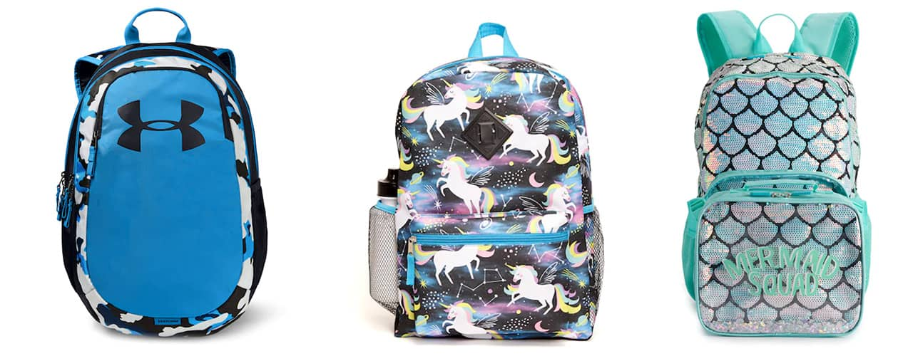 backpacks for kids from kohls uder armour unicorn and mermaid styles