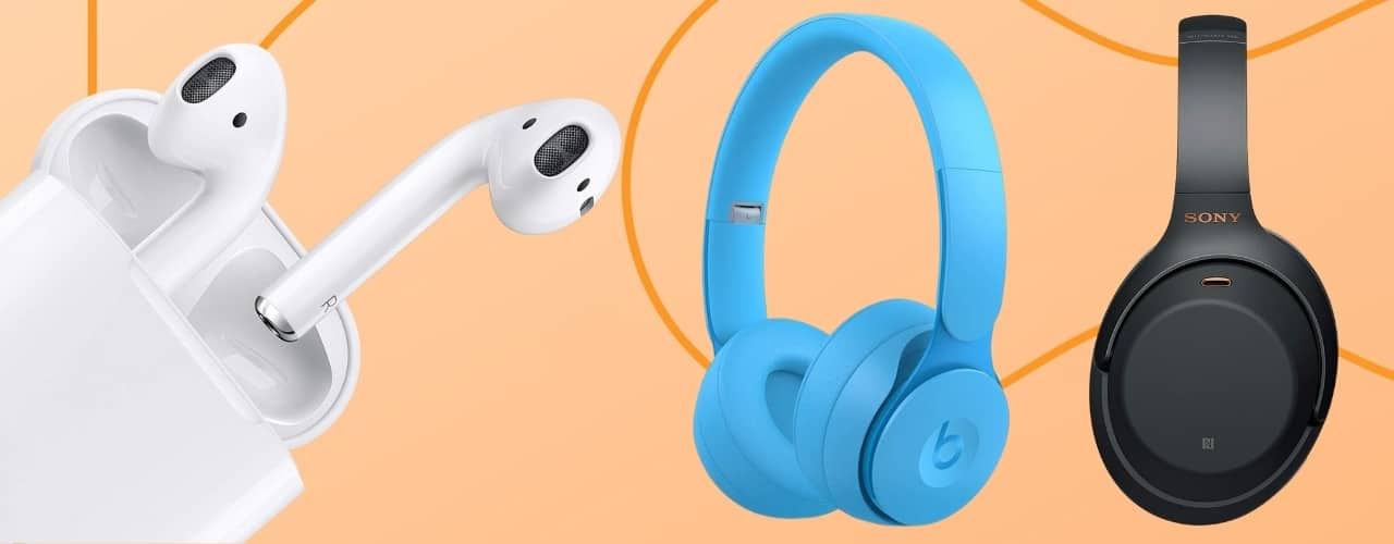 headphones on orange background